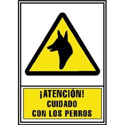 CARTEL PVC AMARILLO ATENCION CUIDADO CON LOS PERRO