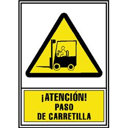 CARTEL PVC AMARILLO ATENCION PASO CARRETILLAS