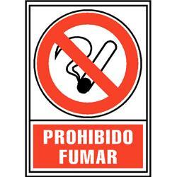 CARTEL PVC ROJO PROHIBIDO FUMAR