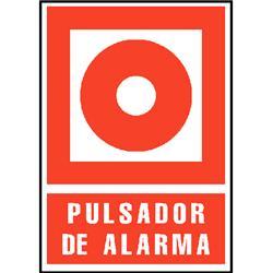 CARTEL PVC ROJO PULSADOR DE ALARMA