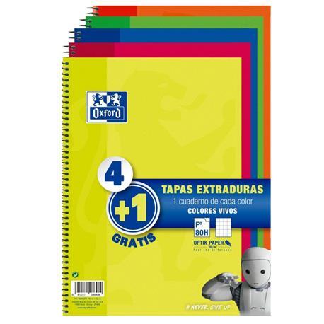 BLOC ESPIRAL OXFORD TAPAS EXTRADU. PACK 4+1 GRATIS