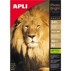 PAPEL APLI DIN A4 DE 240/280 grs.PHOTO BRIGHT (60
