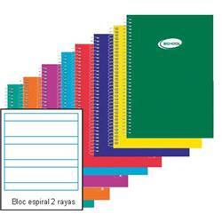 BLOC ESPIRAL FOLIO 2 RAYAS 80 hojas