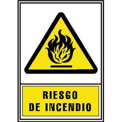 CARTEL PVC AMARILLO RIESGO INCENDIO