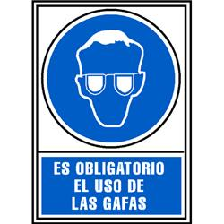 CARTEL PVC AZUL USO OBLIGATORIO DE GAFAS