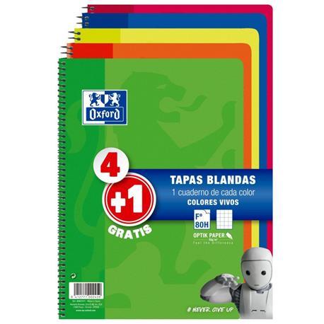 BLOC ESPIRAL OXFORD TAPAS BLANDAS PACK 4+1 GRATIS