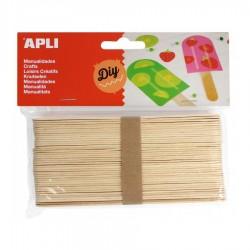 PALOS DE MADERA NATURAL FINOS 11,4 cm (50 unid.)