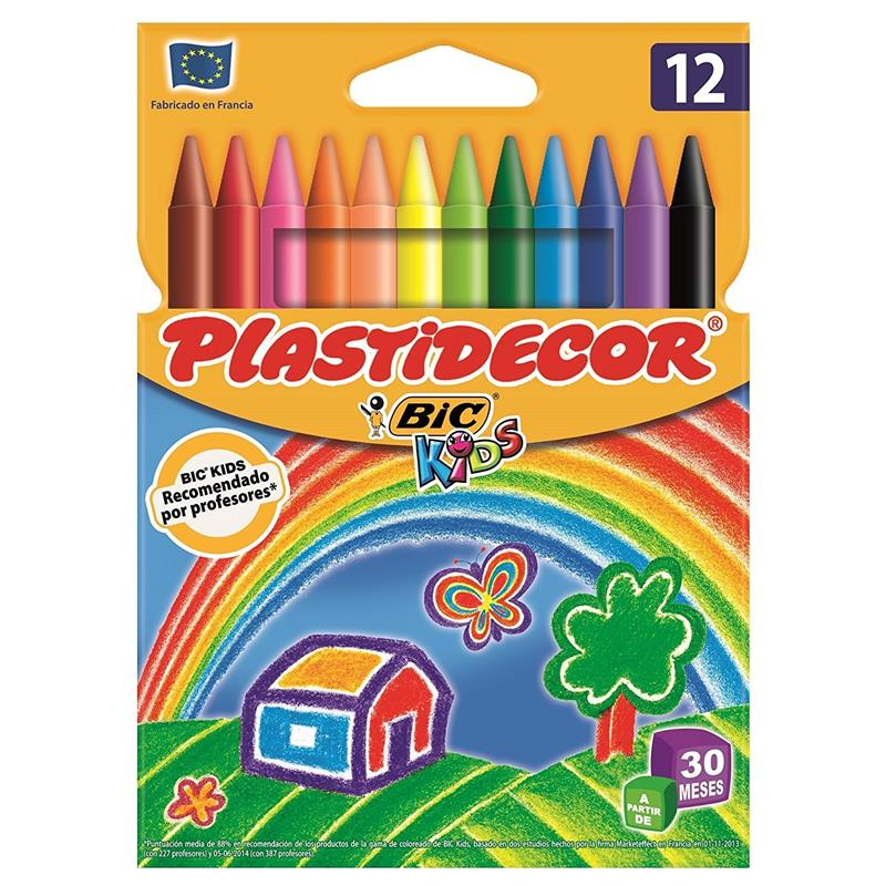 Estuche con 12 ceras de colores Plastidecor