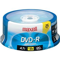 DVD-R MAXELL 4,7 GB. TARRINA 25 UNID. IMPRIMIBLE
