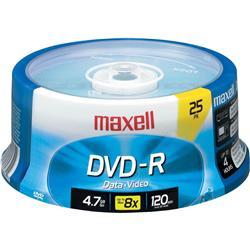 DVD-R MAXELL 4,7 GB. TARRINA 25 UNID. IMPRIMIBLE