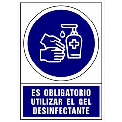 CARTEL PVC AZUL OBLIGATORIO USAR DESINFECTANTE