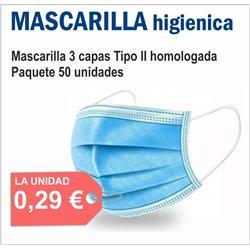 MASCARILLA HIGIENICA AZUL 3 CAPAS (50 unid.)