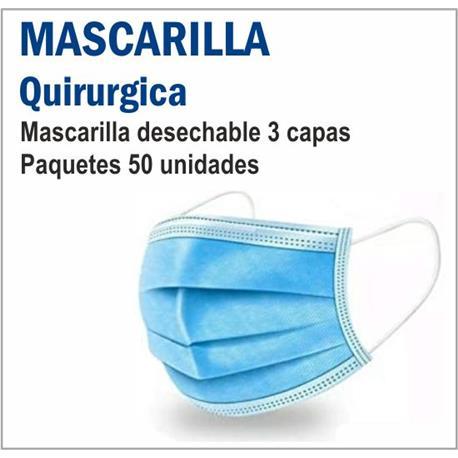 MASCARILLA QUIRURGICA AZUL 3 CAP.TIPO IIR (50 unid