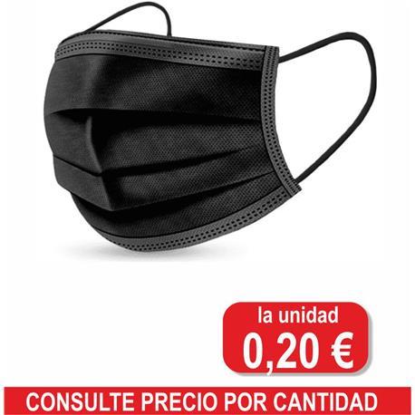 MASCARILLA QUIRURGICA NEGRA 3 CAP.TIPO IIR (50 uni